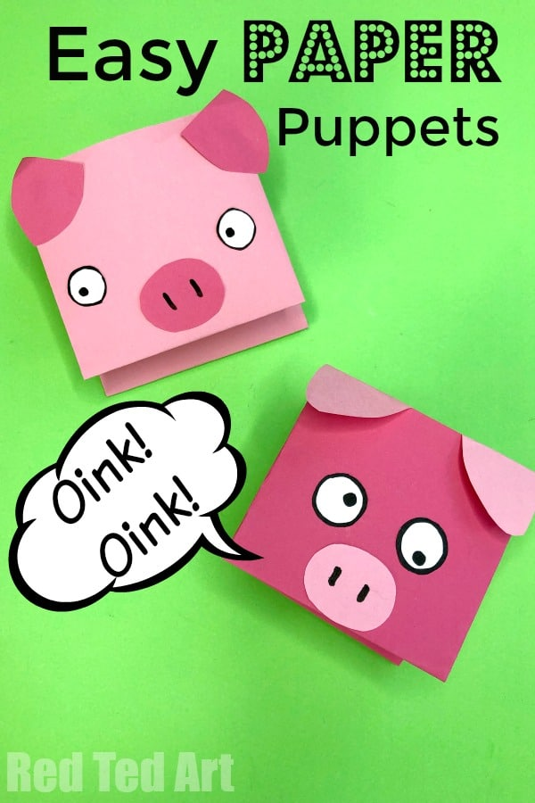 Paper Pig Puppet for Kids - Red Ted Art\u0027s Blog