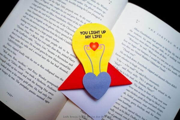 Valentine\u0027s Lightbulb Corner Bookmark Design - Red Ted Art\u0027s Blog