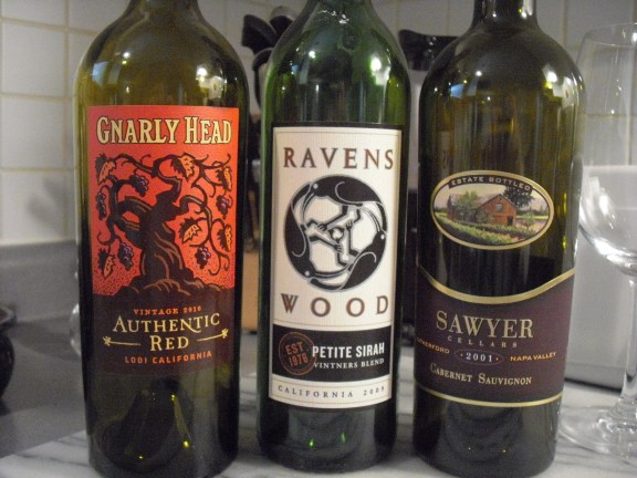 2010 Gnarly Head Authentic, 2009 RAvenswood Petite Sirah and the 2001 Sawyer Cabernet