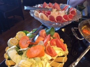 hot pot for two - meat, fish and veggies