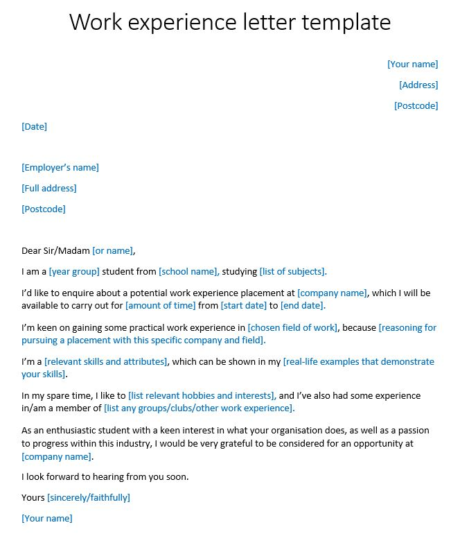 Work experience letter template reeduk