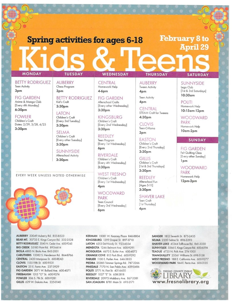 Library Arpil 2016 Kids and teens