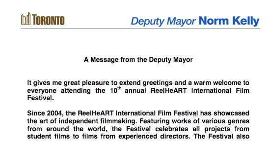 A Message from the Deputy Mayor \u2013 ReelHeART International Film and