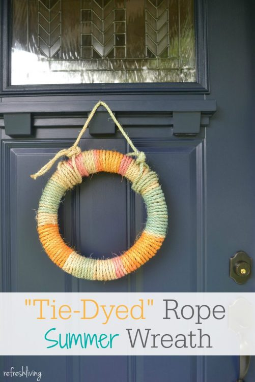 diy rope wrapped colorful summerwreath