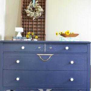 Coastal Blue Dresser with Gold Accents