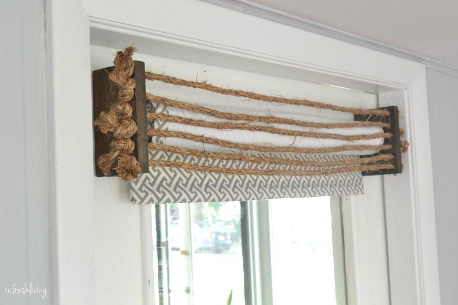 Rustic rope diy valance refresh living