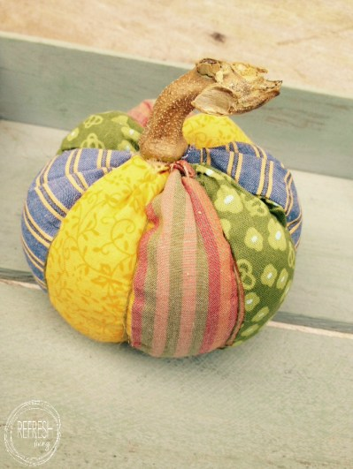 no sew fabric pumpkin with real stem