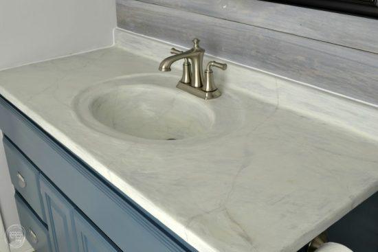 diy concrete marble counter top vanity