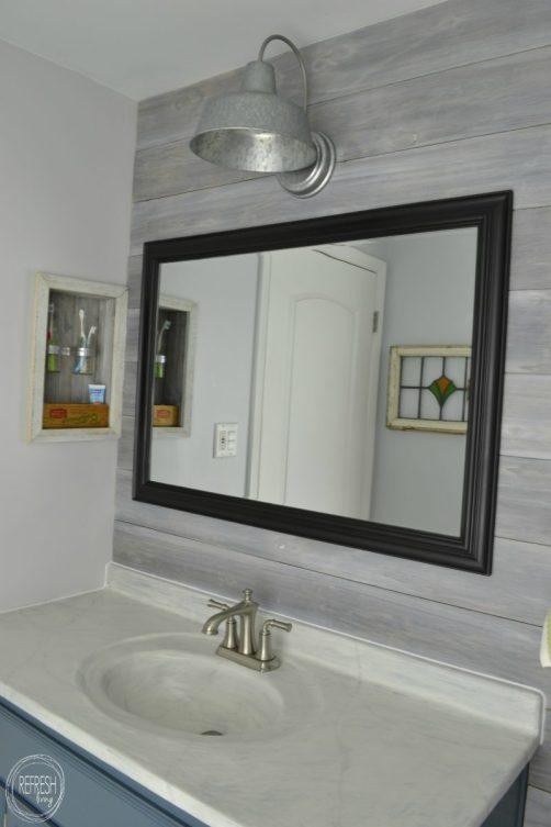 barn light in bathroom | Vintage Rustic Industrial Bathroom Makeover for $200