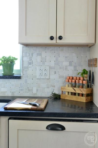 DIY test tube spice rack with butcher block and copper tops