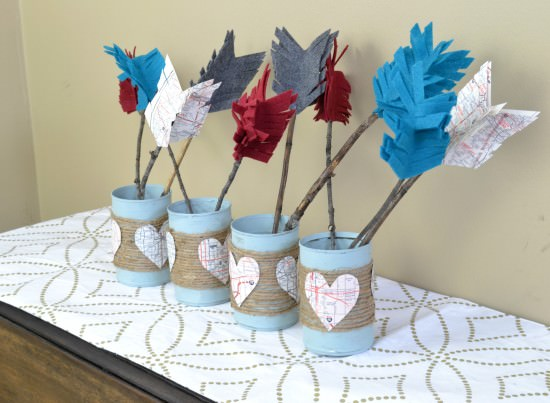 Rustic Valentine's Decor using leftover items from your home and yard | Upcycled tin can project | DIY felt arrows | valentine's centerpiece