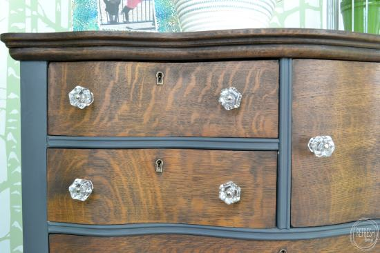 Two-toned antique oak dresser makeover from Refresh Living