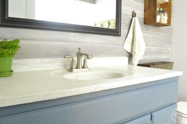 diy concrete counter top in white