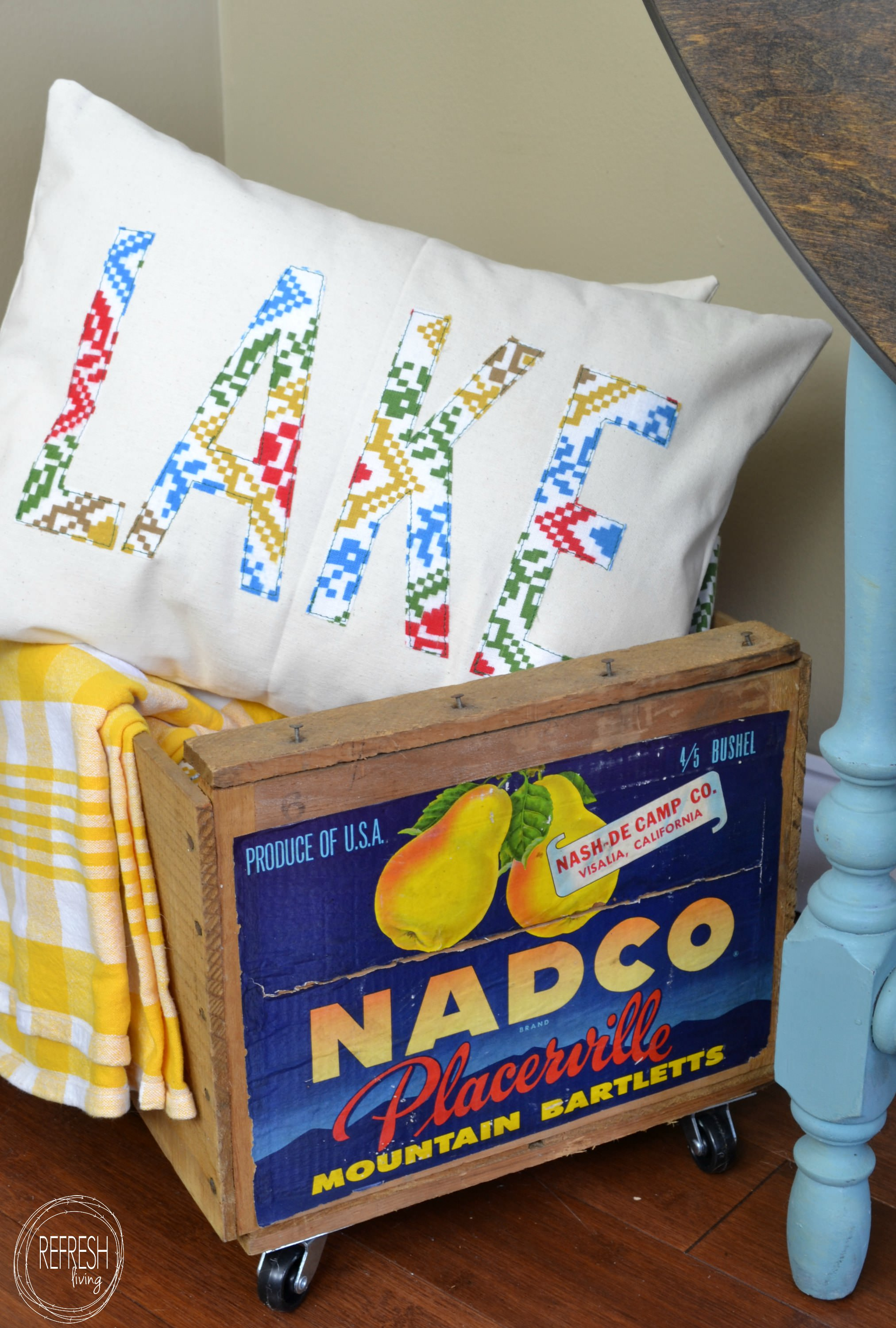 Diy Word Pillows With Vintage Fabric Refresh Living