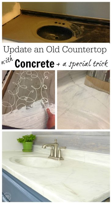 update an old countertop with concrete