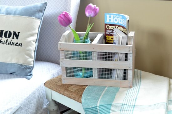 diy wooden crate with chicken wire