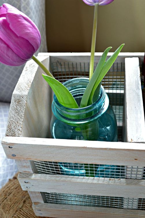 rustic wooden crate with metal chicken wire farmhouse