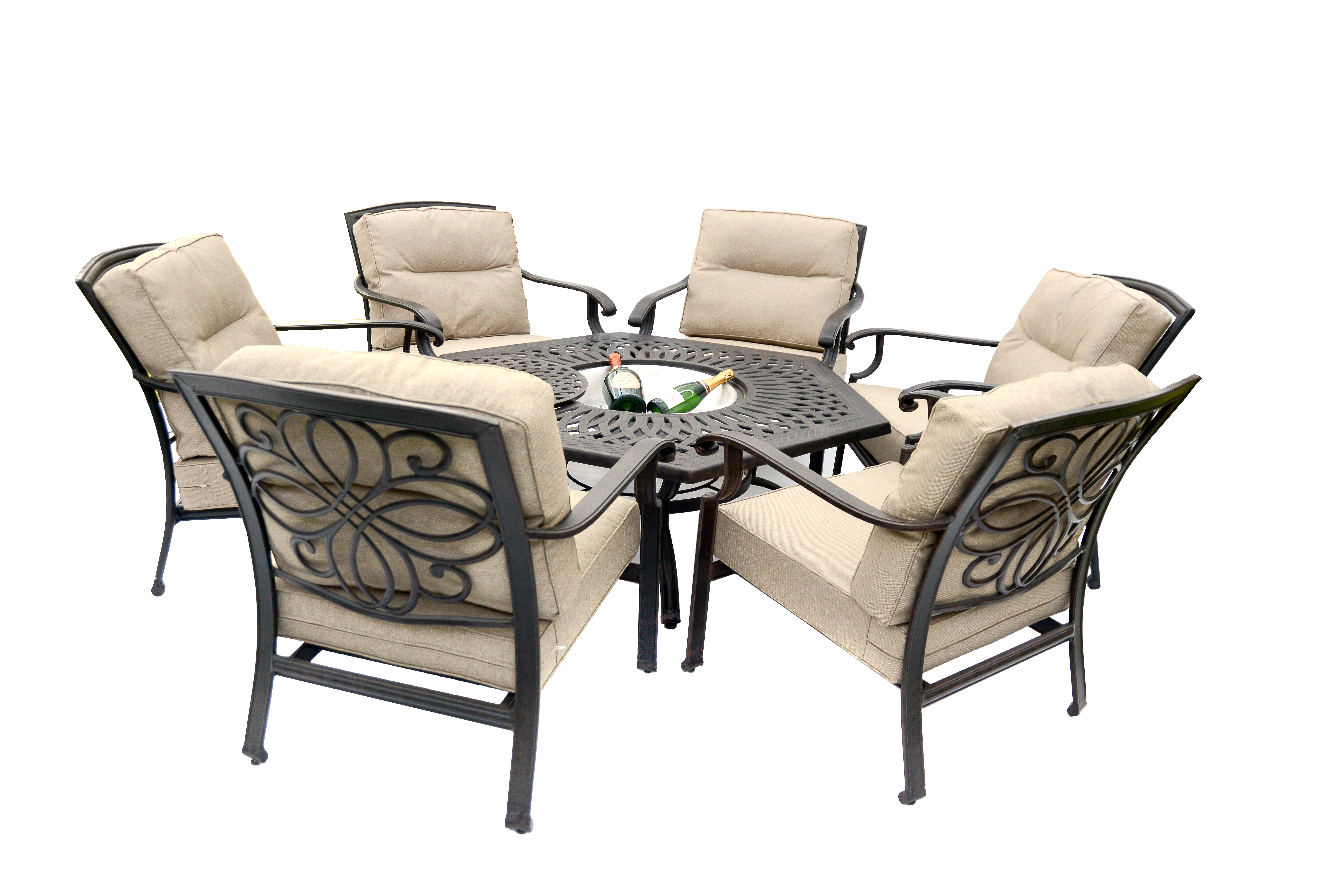 Gregg Wallace 6 Chair Firepit Set with 150cm Low Hexagonal