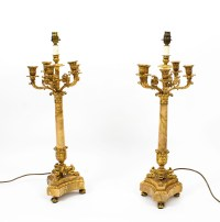 Vintage Pair Corinthian Column Table Lamps Candelabra 20th ...