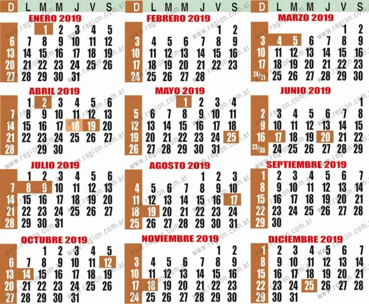 Calendario actualizado de Feriados 2019 - Semanario REGION - La Pampa