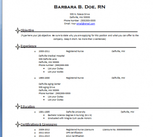 Free Registered Nurse Resume Templates. Free Basic Resume Template