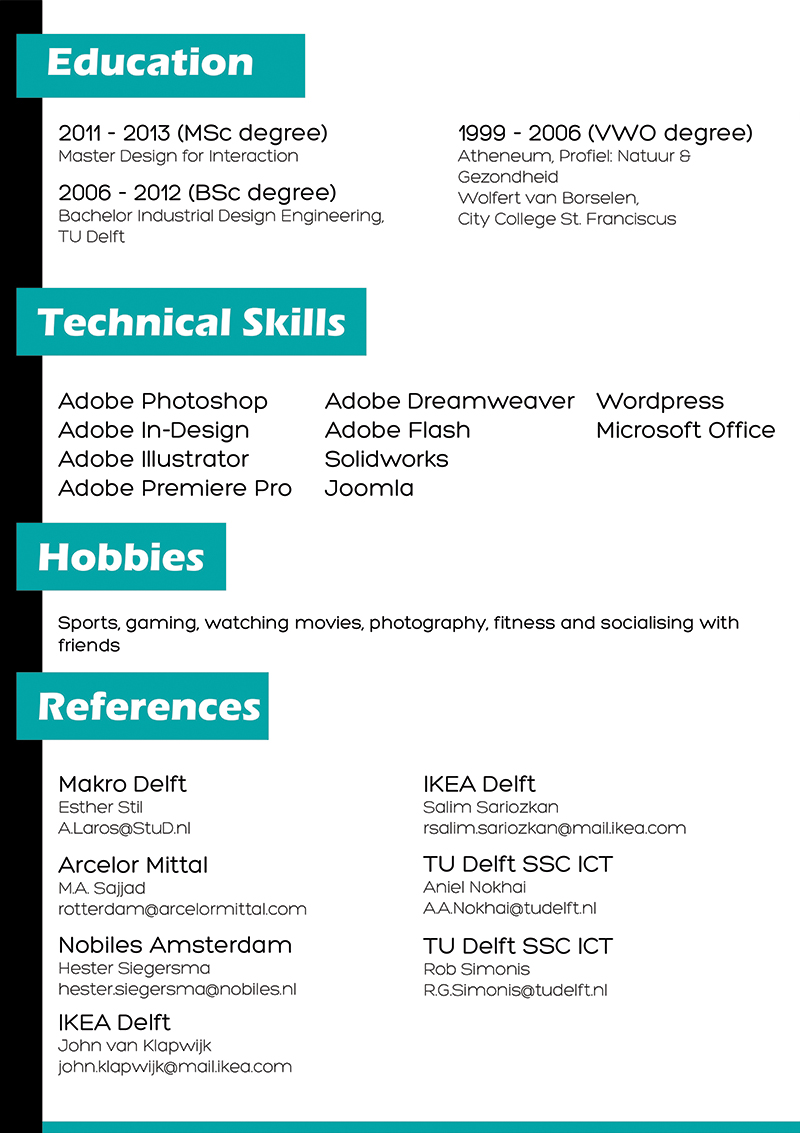 Resume for a writing conference