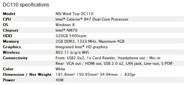 MSI annuncia il Mini PC Wind Box DC110