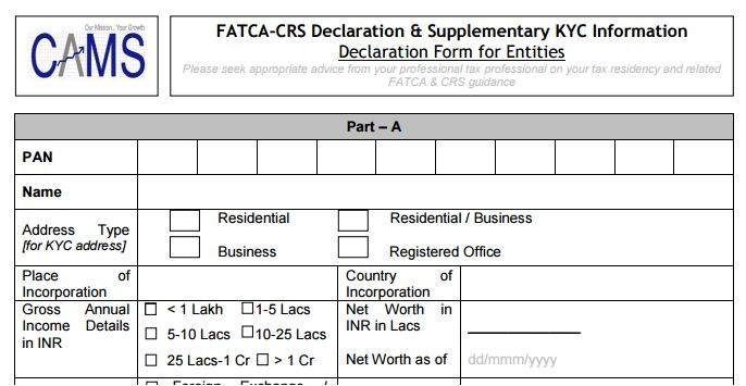FATCA Compliance  Mutual Fund Investments in India - net worth form