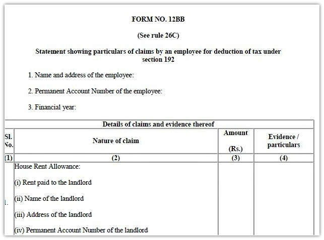 Form 12BB - New Form to claim Income Tax Benefits / Rebate - hra rent receipt format