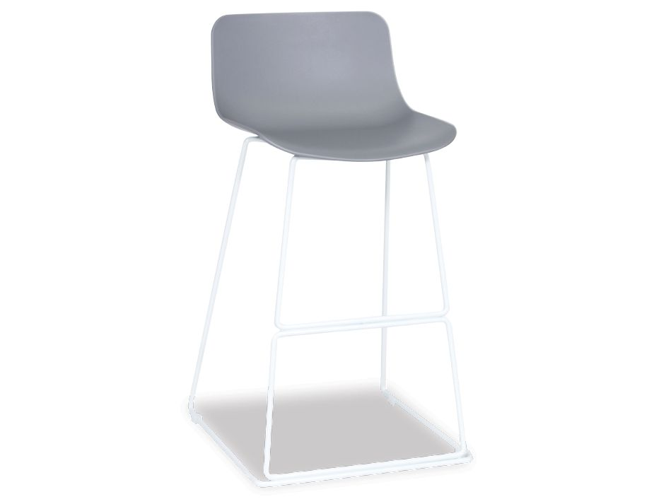 Grey Poly Seat w White Bar Stool