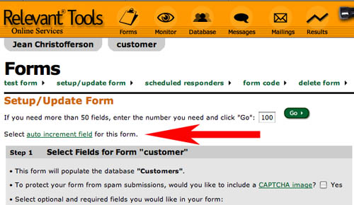 Relevant Tools  Auto Increment Fields in Relevant Tools Web Forms