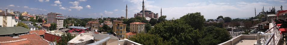 The Historic Penisula, with the Hagia Sophia (middle) and the Blue Mosque (far right).