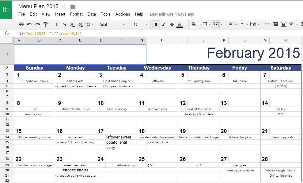 Tips and Tools for Meal Planning\u20132015 Edition Relishments - menu planning template