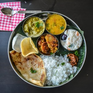 Palak Paneer, Trevti dal, Arbi roast, Parotta. curd rice, pickle – Lunch Menu