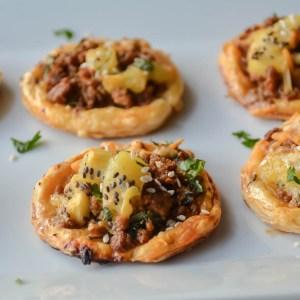 Spicy sweet kiwi lamb walnut puffs