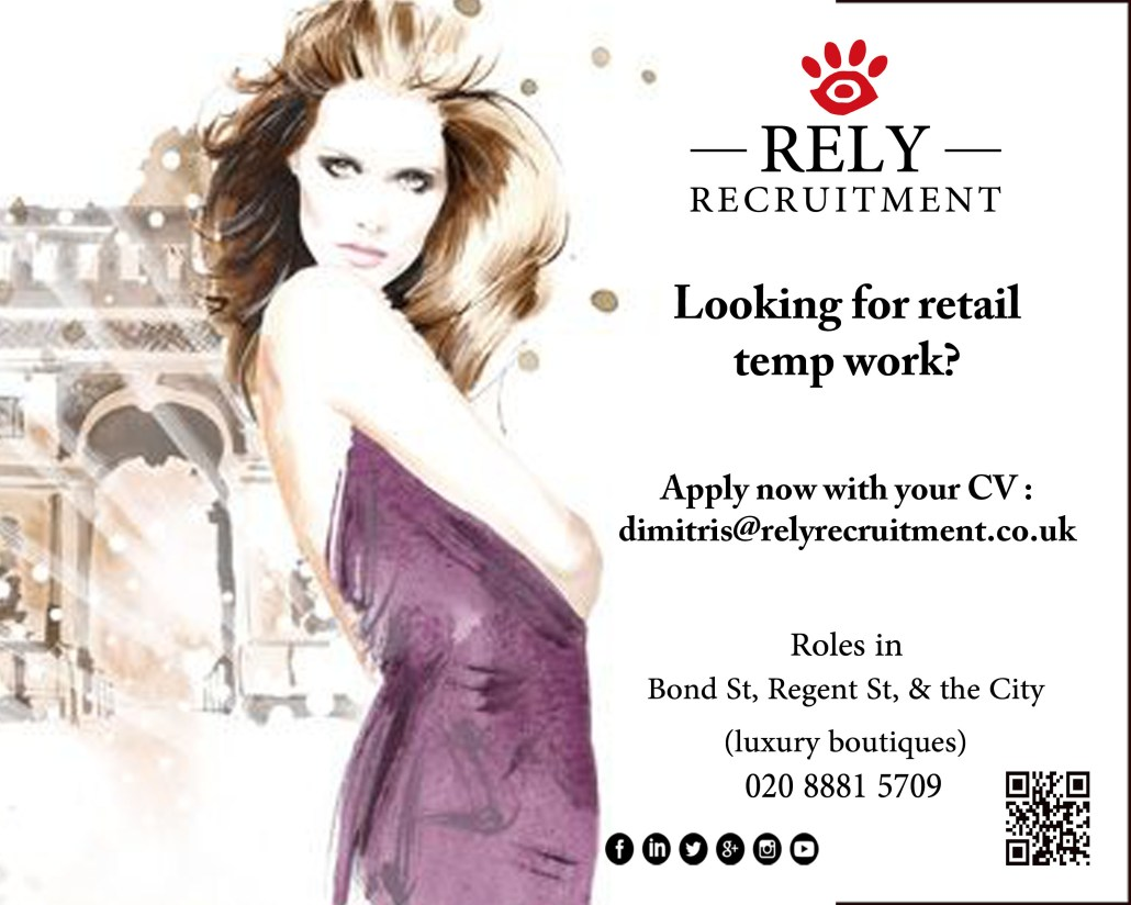 Temp Sales Assistant roles available now! Apply now with your CV : dimitris@relyrecruitment.co.uk