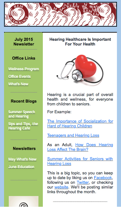 Newsletter - REM Audiology - Hearing Aids and Hearing Tests - office newsletter