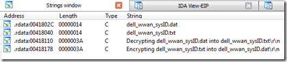 Ida Strings Window | dell_wwan_sysID.dat