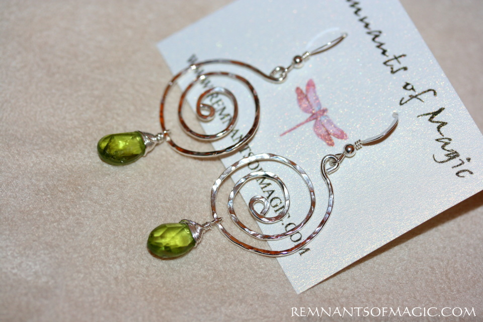 Spiral Peridot Earrings In Sterling Silver