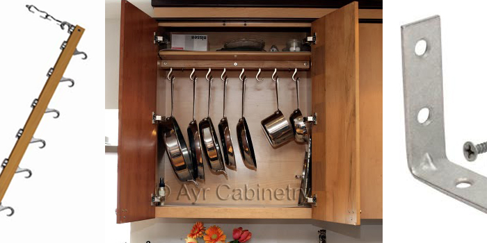 hanging pot rack in cabinet - lovequilts