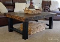 Remodelaholic | DIY Simple Wood Slab Coffee Table