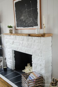 Remodelaholic | DIY Stone Fireplace Update with Live Edge ...