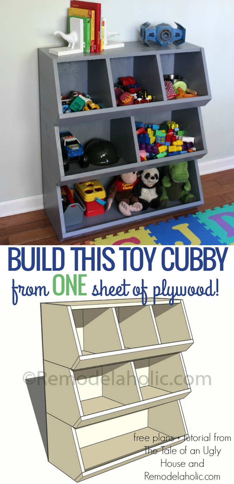 Remodelaholic How To Build A Toy Cubby Shelf Boy39s