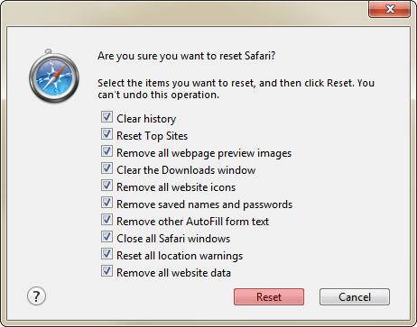 Reset Safari 2