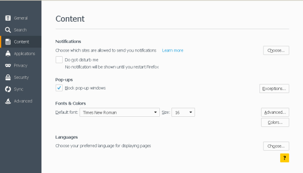 Mozilla Block Pop-ups in Content tab