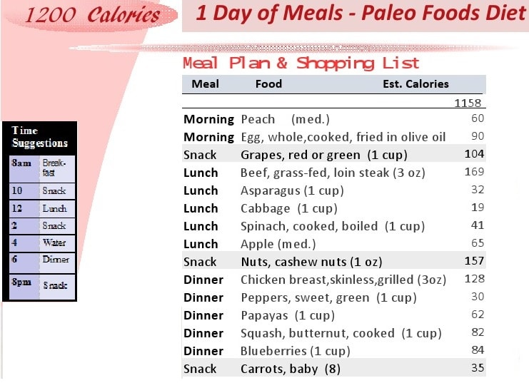 Printable 1200 Calorie Paleo Diet for 6 Days or less-grocery list - sample shopping list
