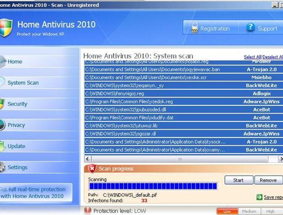 Home Antivirus 2010 Removal