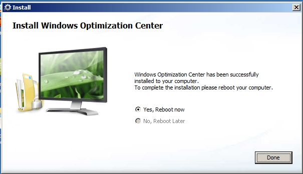 Remove Windows Optimization Center