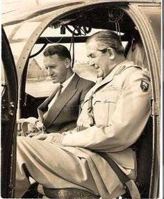 Premier Ian Smith former RAF flying ace with Brigadier Jock Anderson in a Alouette