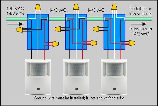 motion detector wiring diagram three pole